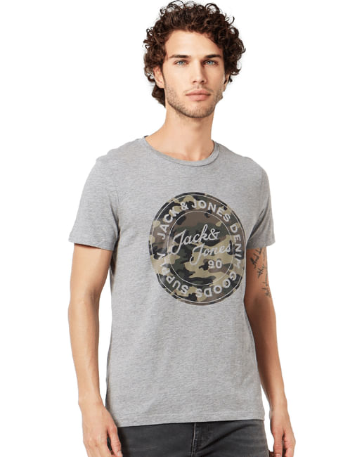Grey Logo Print Crew Neck T-shirt