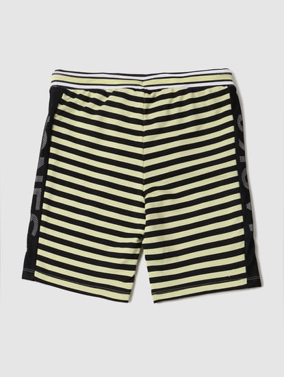 Boys Black Mid Rise Striped Sweatshorts
