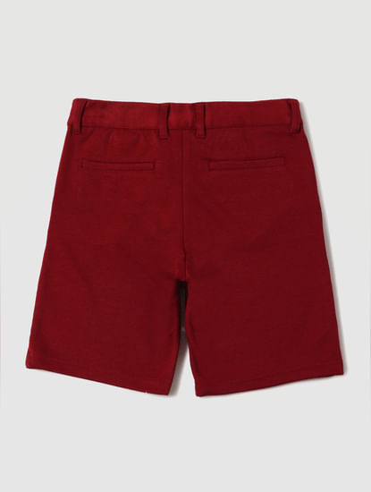 Boys Red Mid Rise Chino Shorts