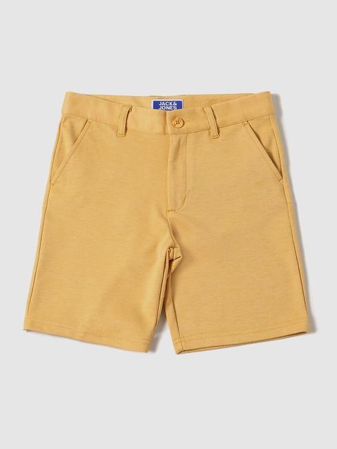 Boys Yellow Mid Rise Chino Shorts