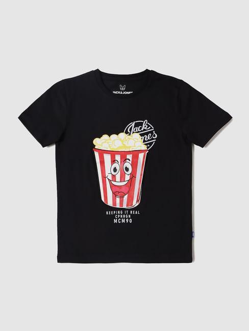 Boys Black Popcorn Graphic Print Crew Neck T-shirt