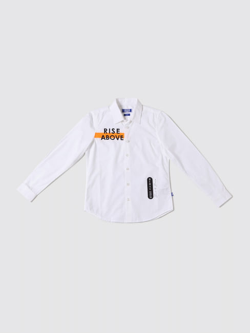 Boys White Text Print Full Sleeves Shirt