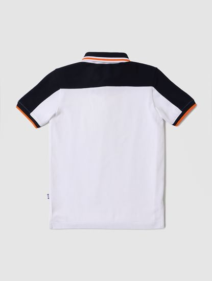 Boys White Logo Print Polo Neck T-shirt
