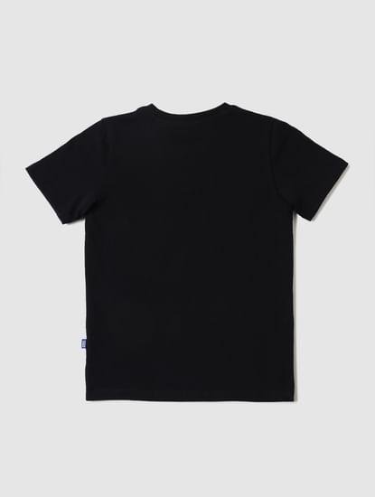 Boys Black Slogan Print Crew Neck T-shirt