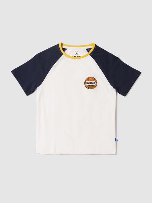 Boys White Colourblocked Crew Neck T-shirt
