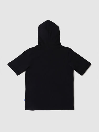 Boys Black Graphic Print Hooded T-shirt