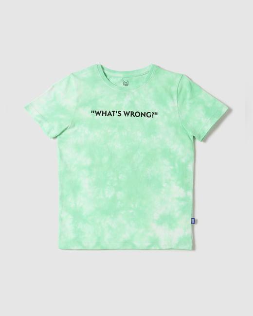 Boys Green Tie Dye Text Print Crew Neck T-shirt