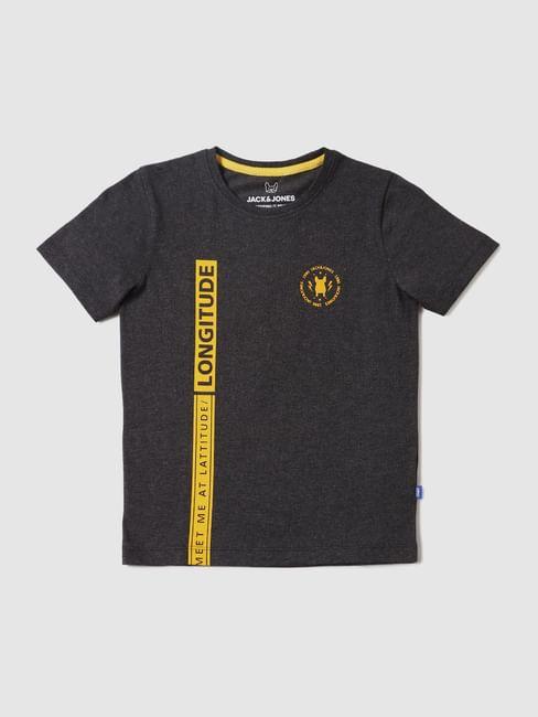Boys Dark Grey Text Print Crew Neck T-shirt