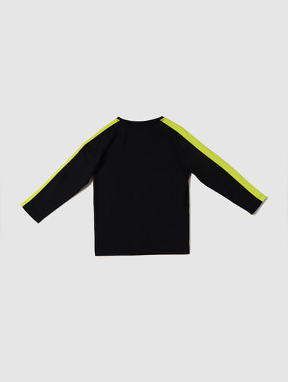 Boys Black Text Print Full Sleeves Crew Neck T-shirt