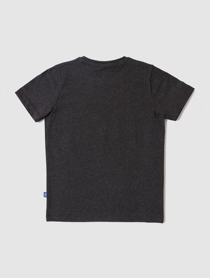 Boys Dark Grey Graphic Logo Print Crew Neck T-shirt