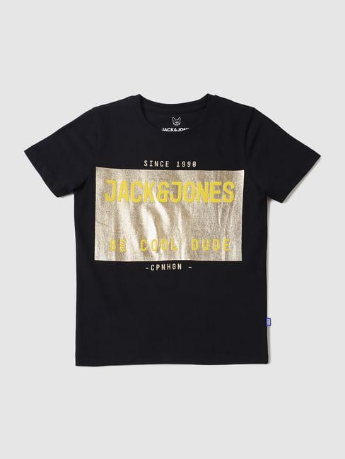 Boys Black Graphic Logo Print Crew Neck T-shirt