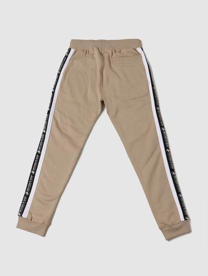 Boys Beige Mid Rise Tape Detail Sweatpants