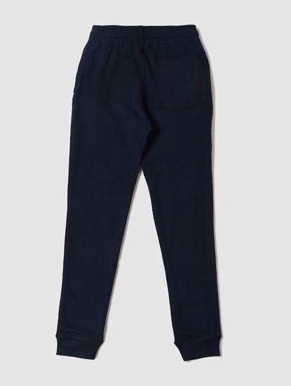 Boys Blue Mid Rise Logo Print Sweatpants
