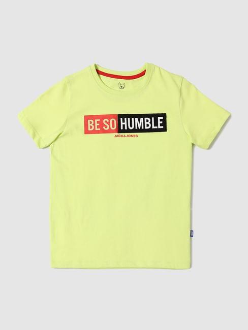 Boys Yellow Slogan Print Crew Neck T-shirt