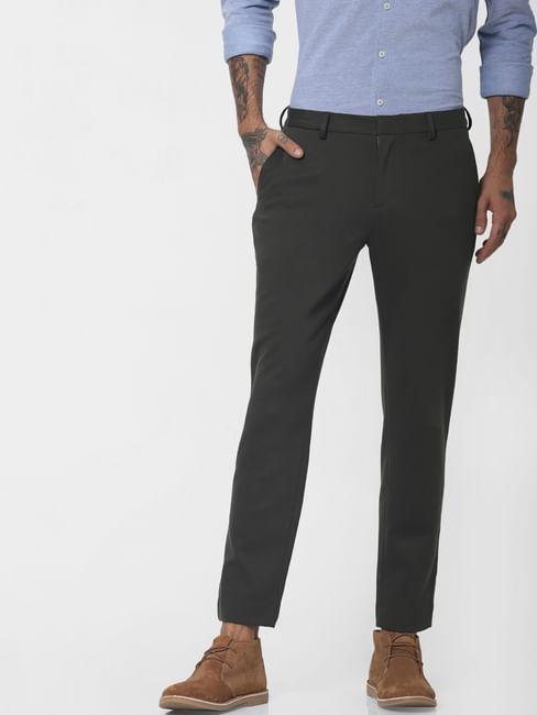 Dark Green Mid Rise Slim Fit Trousers
