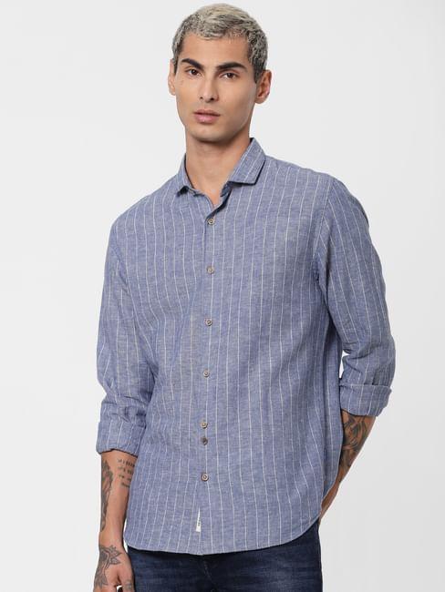 Blue Striped Linen Full Sleeves Shirt