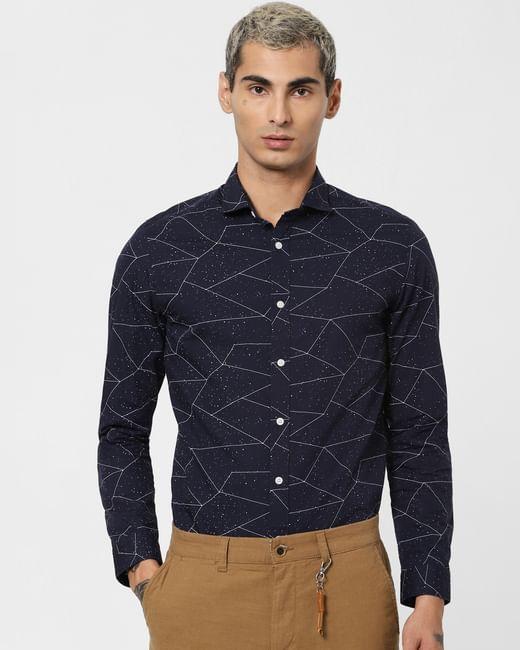 Navy Blue Geometric Print Full Sleeves Shirt