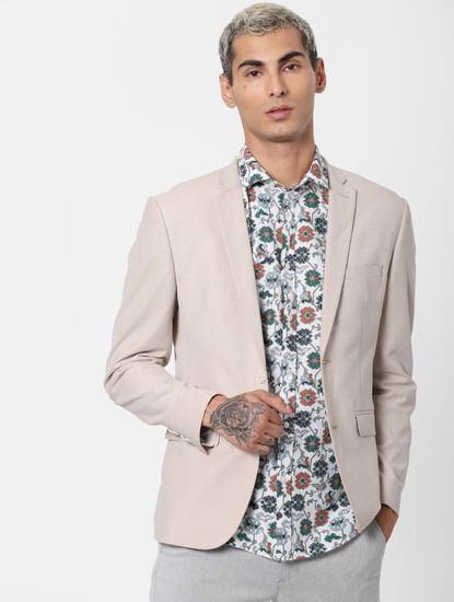 White Floral Print Linen Short Sleeves Shirt