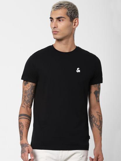 Black Textured Crew Neck T-shirt