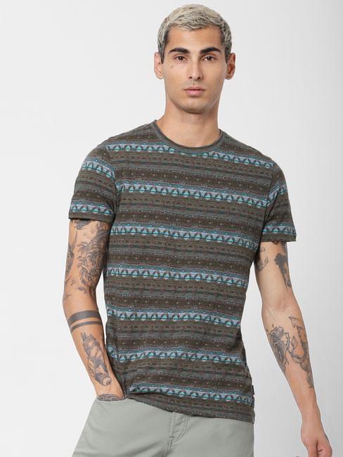 Green Abstract Print Jacquard T-shirt