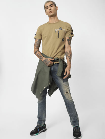 Brown Printed Washed Crew Neck T-shirt