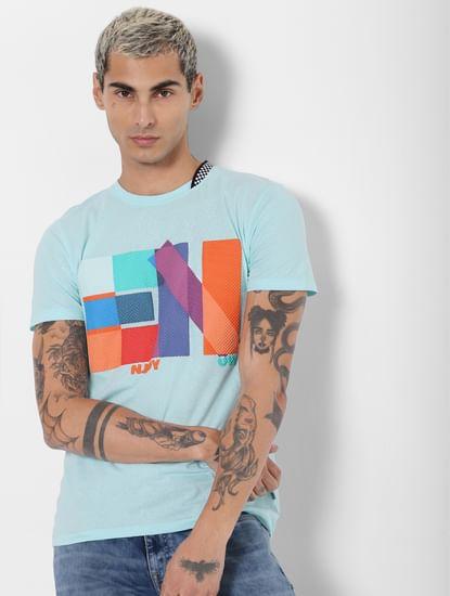 Blue Textured Print Crew Neck T-shirt