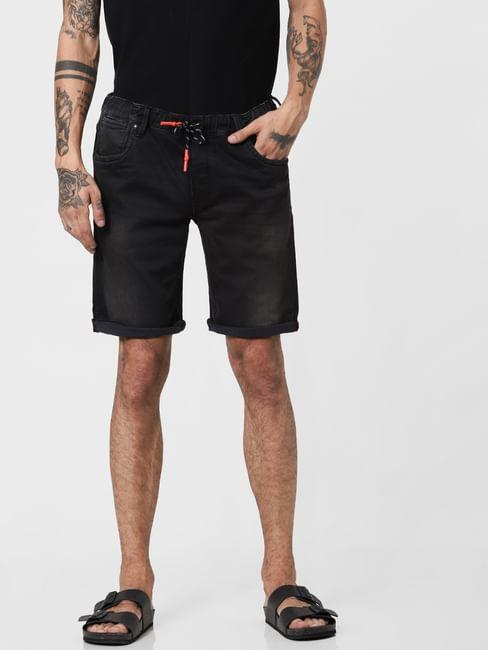 Black Low Rise Washed Denim Shorts