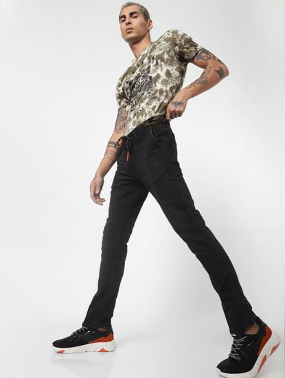 Black Low Rise Camo Detail Ben Skinny Jeans