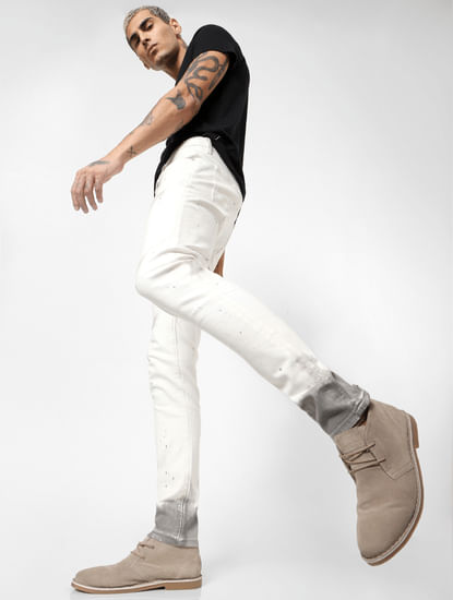 White Low Rise Sprayed Paint Detail Liam Skinny Jeans