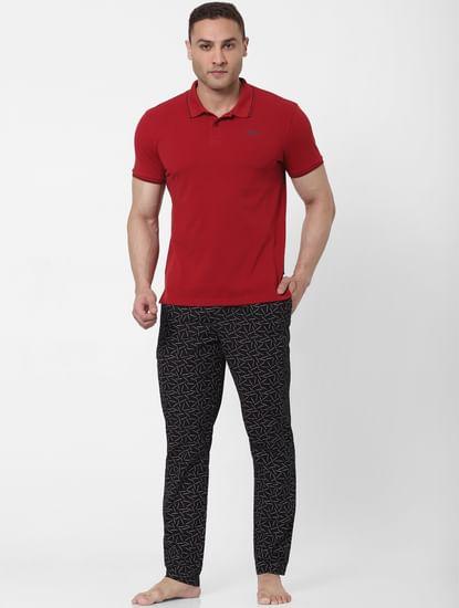 Black Matchstick Print Pyjamas