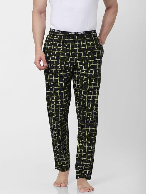 Black All Over Caution Print Pyjamas