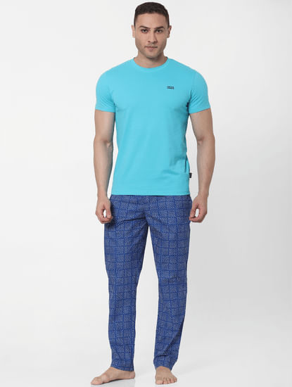 Blue Abstract Print Pyjamas