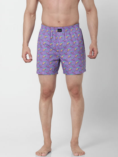 Purple Pizza Print Boxers