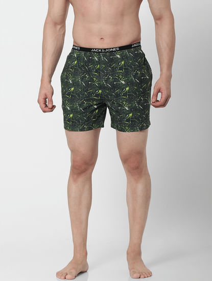 Green Abstract Print Boxers