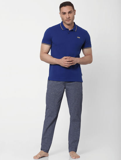 Blue Contrast Tipping Polo Neck T-shirt