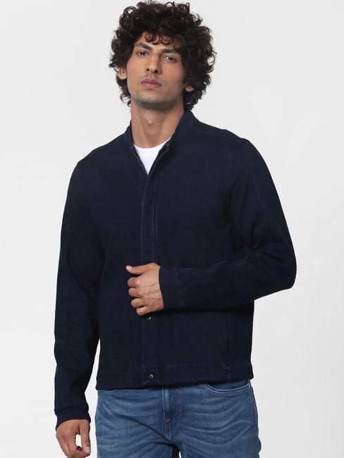 Blue Front Open Denim Jacket