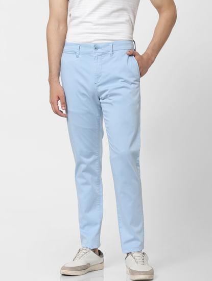 Light Blue Mid Rise Chino Pants