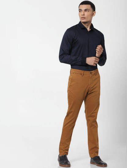 Brown Mid Rise Chino Pants