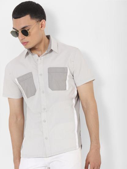 Grey Colourblocked Short Sleeves Shirt