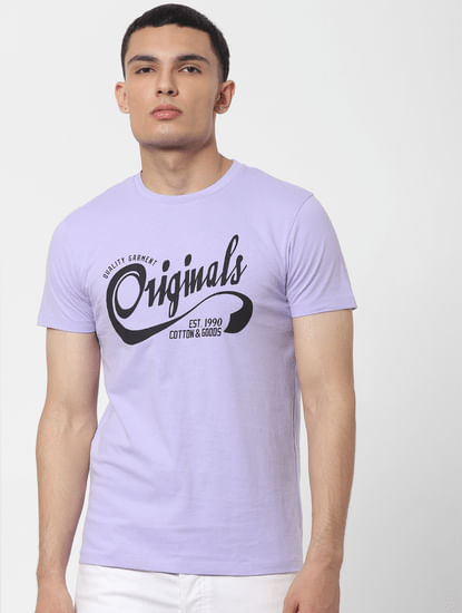 Purple Logo Print Crew Neck T-shirt