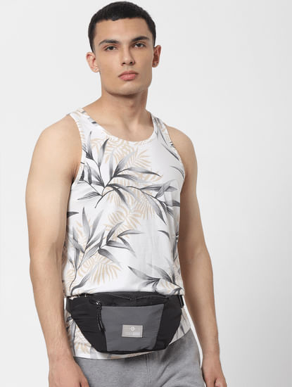 White Tropical Print Vest