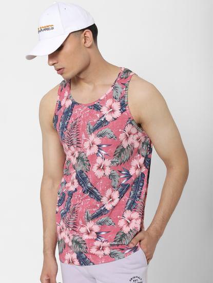 Pink Tropical Print Vest