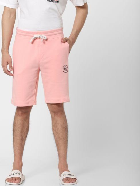 Pink Low Rise Logo Print Sweatshorts