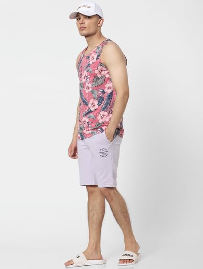 Light Purple Low Rise Logo Print Sweatshorts