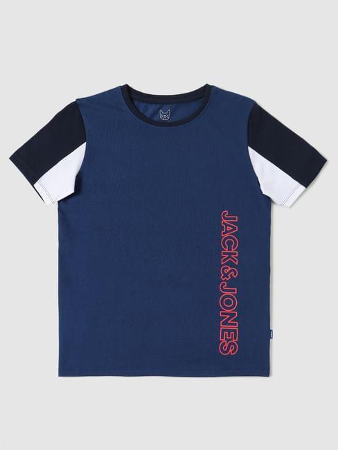 Boys Blue Colourblocked Sleeves Crew Neck T-shirt