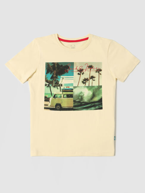 Boys Yellow Graphic Print Crew Neck T-shirt