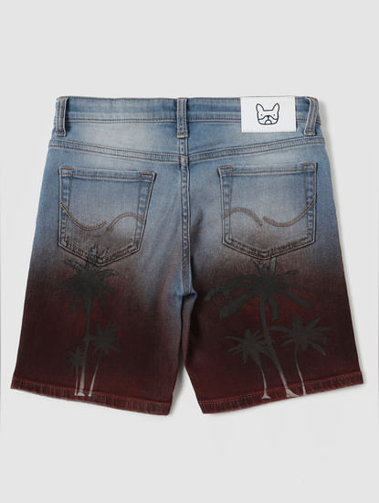 Boys Blue Mid Rise Ombre Tropical Print Shorts