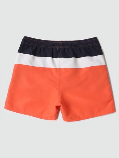 Boys Coral Mid Rise Colourblocked Swimshorts