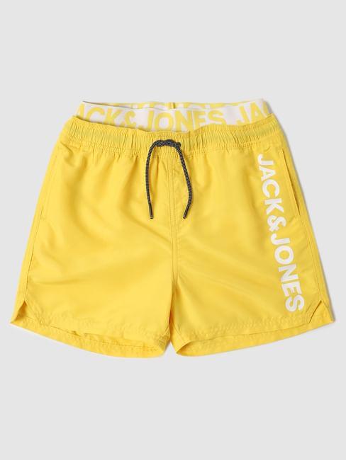 Boys Yellow Mid Rise Logo Print Swimshorts
