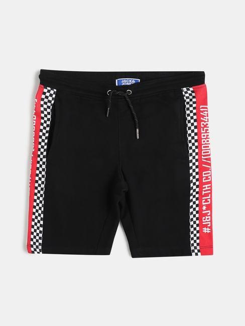 Boys Black Mid Rise Check Detail Shorts